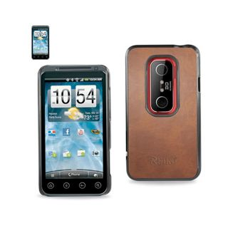 Brown Leather Hard Case Cover for HTC EVO 3D High Quality