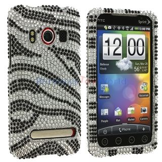 Zebra Bling Rhinestone Case Cover for HTC EVO 4G Phone