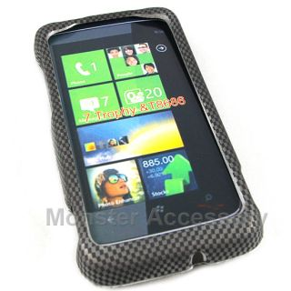 Carbon Rubberized Hard Case Cover HTC 7 Trophy T8686