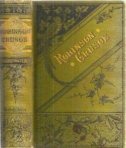 RARE 1883 Shipwreck Robinson Crusoe Fine Binding Illustrated Gift Idea