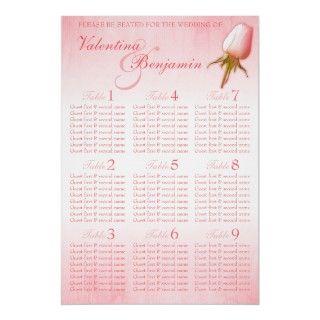 Pink Rose Wedding Seating Table Plan blank Print
