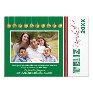 Feliz Navidad Custom Family Holiday Card (green) Custom Invitations