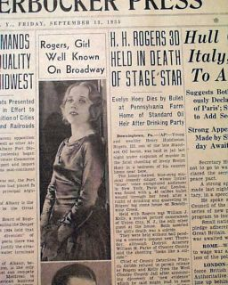 Actress Singer Death SUICIDE & Huey P. Long Death 1935 Old Newspaper
