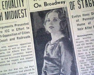 Actress Singer Death SUICIDE & Huey P. Long Death 1935 Old Newspaper