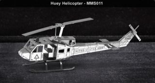 Metal Works Huey Helicopter 3D Laser Cut Model Fascinations 010114