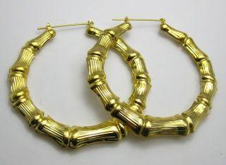 Pairs Big Golden Tone Bamboo Hoop Earrings 70mm 2 8