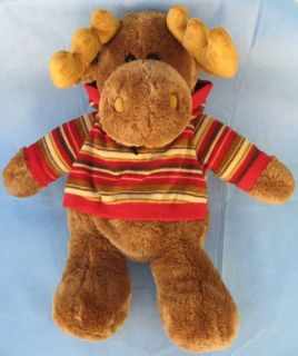 Large Plush Stuffed Toy Moose with Fleece Hoodie Cuddly Dan Dee Very