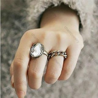 Big Crystal Stone Oval Ring Two Pieces Set Rings Hot New