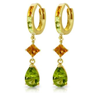GAT 14k Solid Gold Huggie Earring with Dangling Natural Peridots