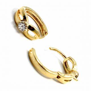 Gold 18K GF Earrings Small Hoop Huggie CZ Crystal White Infants Baby