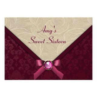 Purple damask & ivory lace rose sweet 16 birthday custom invites