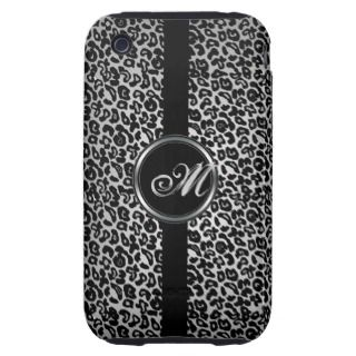 Faux Leopard Monogrammed Tough iPhone 3 Cover