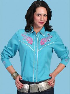 PL 759 Scully Western Cowgirl Shirt Pink Guns Embroidery Blue Medium