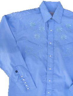 6703 Prairie Rockmount Western Cowboy Shirt XL Blue Embroidery Floral
