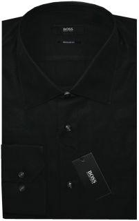 NEW BLACK HUGO BOSS BLACK LABEL REGULAR FIT BROADCLOTH DRESS SHIRT 18