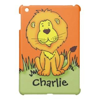 Kids named lion face orange ipad mini case