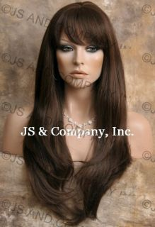 Human Hair Blend Long Straight Medium Brown Wig