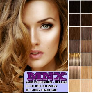 Premium Clip in Remy Human Hair Extensions Full Head Any Colour Size