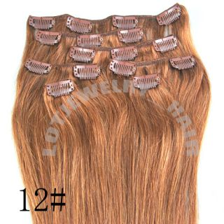 British street style 7p 15 Inch longClip In Real Human Hair Extension