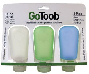 Humangear Gotoob Travel Tube 3 Pack 3oz Lime Clear Blue