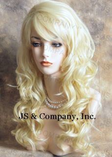 Human Hair Blend Long Wavy Pale Blonde Curly Wig Hair SBL