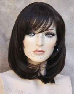 Human Hair Blend Wig Straight Face FRAMING Dark Brown Heat Safe w