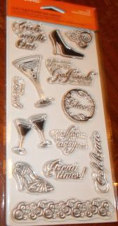CLEAR ACRYLIC FISKARS STAMPS GIRLS NIGHT OUT SHOES DRINKS CHEERS wks
