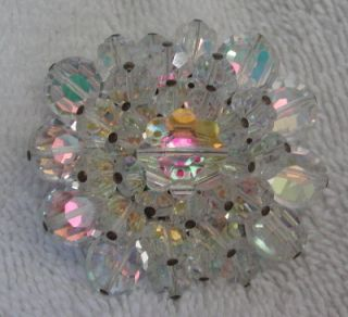 Stunning Vintage Pave Crystal Glass Flower Brooch Pin