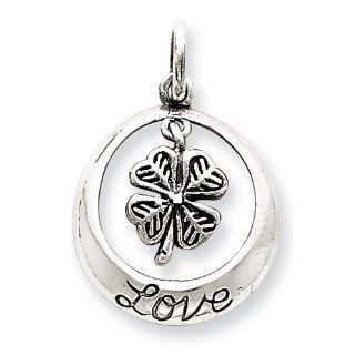 Sterling Silver Antiqued Shamrock Love Charm Vishal