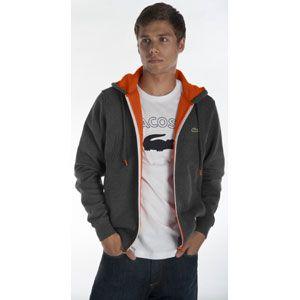 Lacoste Lacoste Full Zip Double Fleece Hoodie   Mens   Grey/Orange