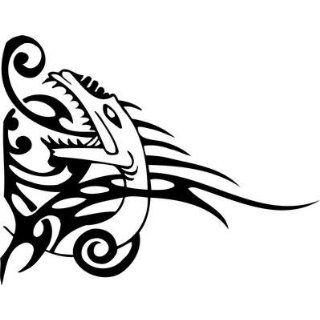 Tribal Dragon Sticker 124   6 inch   White    Automotive