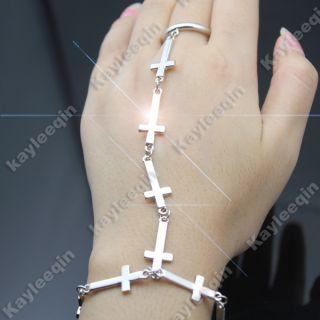 Fab Polish Silver Full Cross Slave Chain Hand Harness Armour Bracelet