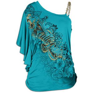 Southpole One Shoulder Sd Ruched Logo Top   Womens   Peacock Blue