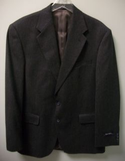 HUNT VALLEY Mens Black Blue Tan Lambswool Sport Coat Blazer 42L 42 L