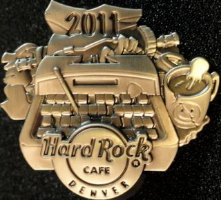 Hard Rock Cafe Denver 2011 Hunter s Thompson Typewriter Pin Pewter