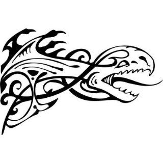 Tribal Dragon Sticker 123   12 inch   White    Automotive