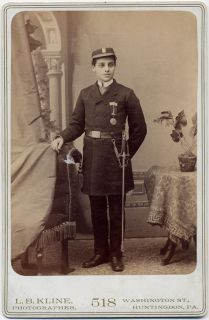 in Uniform Sword L B Kline Huntingdon PA Vintage Cabinet Card