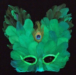 Emerald Green Feather Butterfly Mask Halloween Costume
