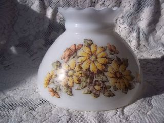 Vtg Milk Glass Hurricane Lamp Shade Floral Pattern