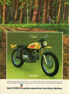 1972 Print Ad Harley Davidson Motorcycle Spring SX350 Brush Gun