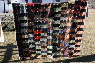 Vintage Handmade Patchwork Quilt Heavy Warm Wool Yarn Knots