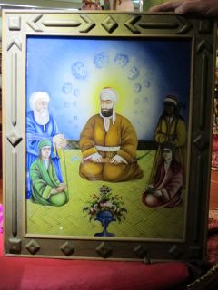 antique Qajar art Imam Ali Hassan Hussain reverse glass painting
