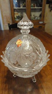 Anna Hutto Bleikristall Crystal Footed Bowl Strawberry