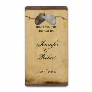 Rustic Country Cowboy Hats Barbed Wire Wine Label
