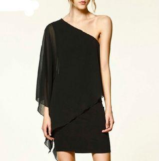 New Women Dresses Elegant Chiffon Black One Shoulder Party Dress HY129