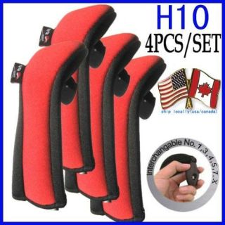 A99 Golf Club Headcover H10 Hybrid Head Cover Neoprene 4pcs Red Black