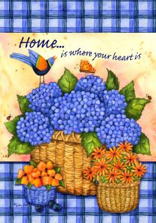 Is Where Your Heart Is  Violet Hydrangeas 0290 New Large Flag
