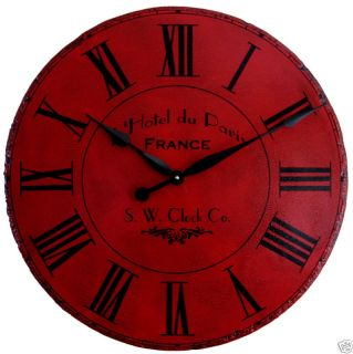 Large Wall Clock 36 Antique Red Paris Big Tuscan Roman