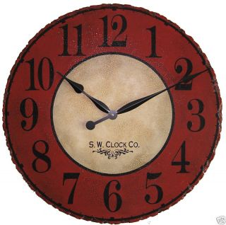 Large Wall Clock 24 Antique Red Tan French Country Round Big