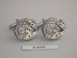 Steampubk CYMA Tavannes Vintage 17 Jewels Watch Movement Cufflinks